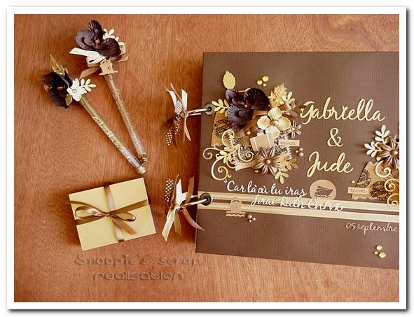 livre d'or Gabriella & Jude - 05.09.2015 - marron & or - voyage (2)